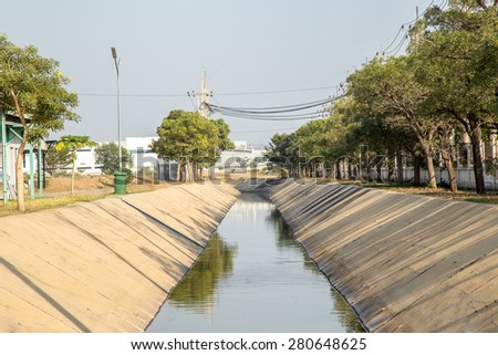 Water drainage in the industry - stock photo