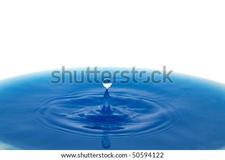 Water drop. A drop of water causing a ripple effect on a water surface. - stock photo