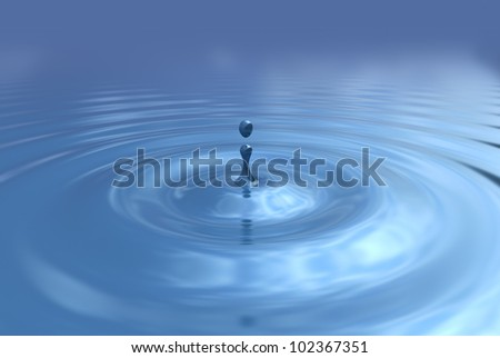 Water drop and ripples