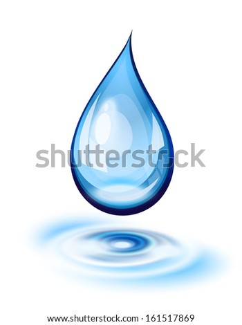 Water drop and ripples icon - stock photo