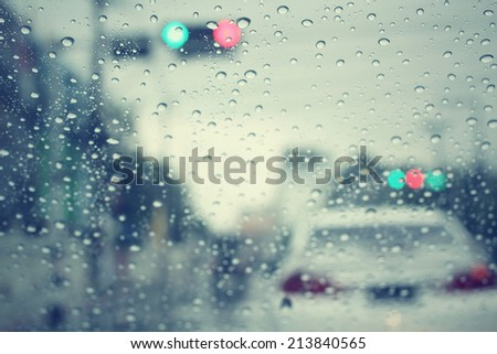 Water drop and road - stock photo