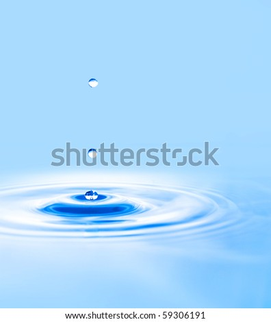 water drop and water rings closeup - stock photo