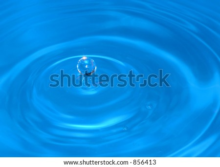 water drop captured on impact with the still water surface