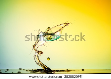 water drop collision on a background wet