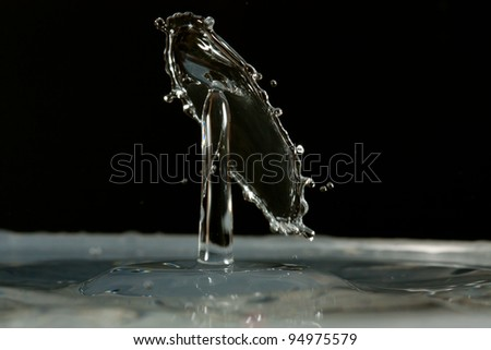 Water drop falling and colliding with another one - stock photo