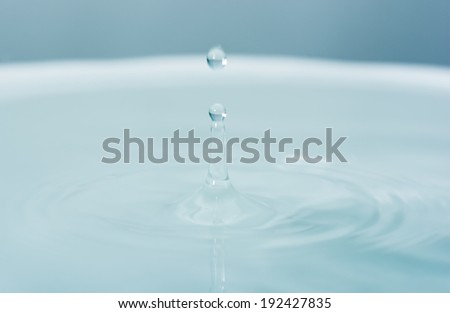Water drop falling into water making droplet