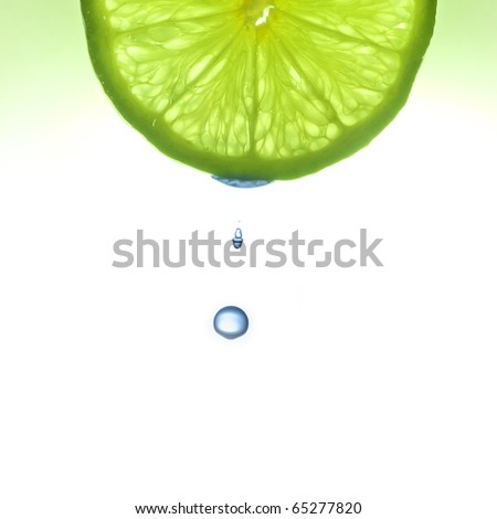Water drop from the lemon slice