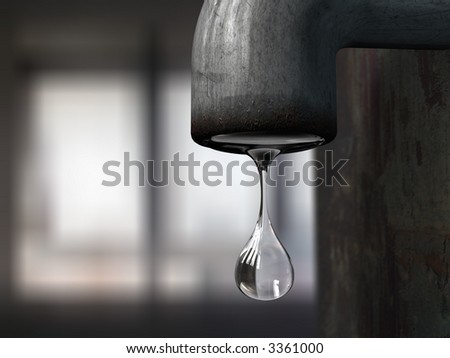 water drop hanging from a metal tap