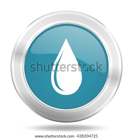 water drop icon, blue round metallic glossy button, web and mobile app design illustration - stock photo