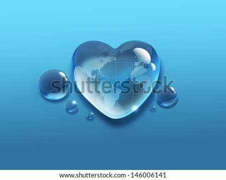 water drop in the shape of heart with the world map inside - stock photo