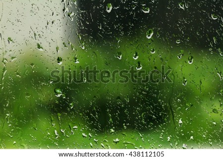 water drop on glass green background. abstract macro close up water drop.drop water on glass raining green nature background.nature green drop water on glass background.  - stock photo