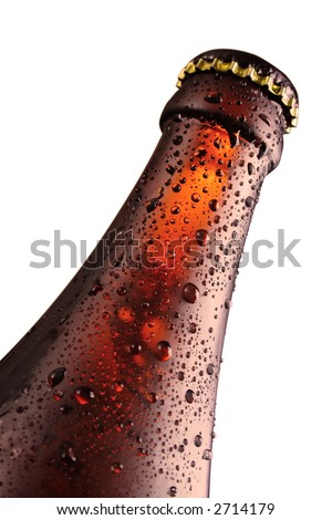 water drop on the bottle - stock photo