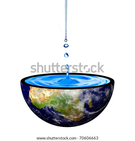 Water drop on the earth bowl. Concept for earth restoration.Data source: NASA