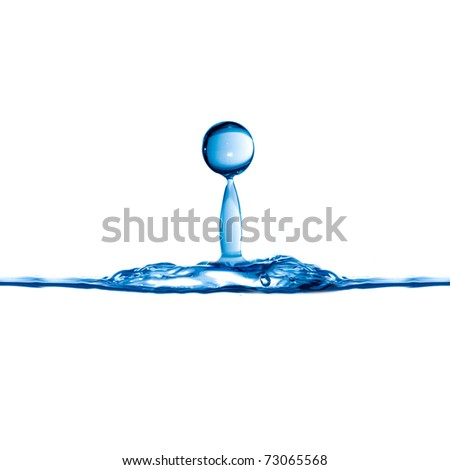 Water drop on white background - stock photo