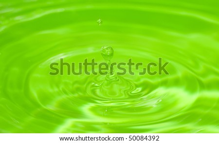 water drop over green background - stock photo