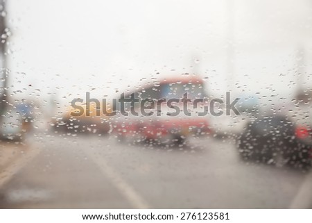 water drop  rain   on road blur background