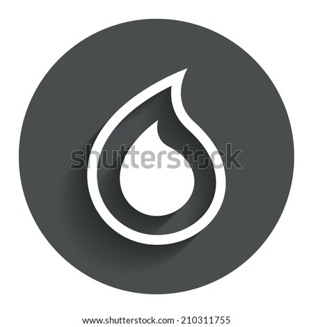 Water drop sign icon. Tear symbol. Circle flat button with shadow. Modern UI website navigation. - stock photo