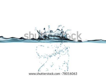 Water drop splash with a bubble swirl  isolated on white - stock photo