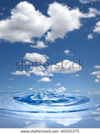 Water drop splashing in clean water against blue sky - stock photo