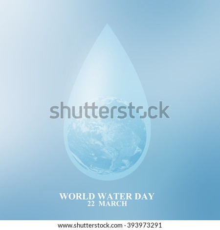 Water drop with global inside for world water day concept:man gesture palm up to preserve energy of the planet:safe life ideal conceptual:Elements of this image furnished by NASA.square picture logo. - stock photo