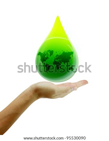 water drop with hands. go green eco concept on white backdrop. - stock photo