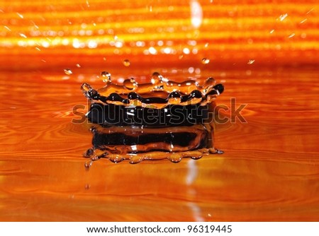 Water drop with orange background 1 - stock photo