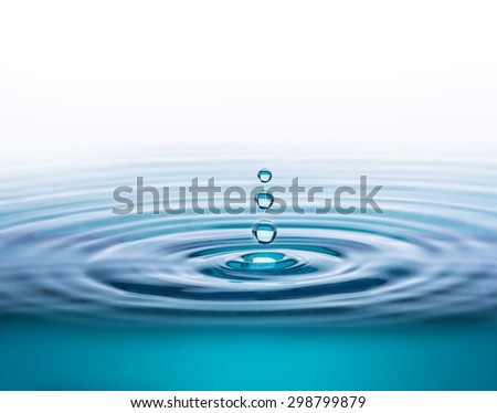 Water drop with white background and copy space