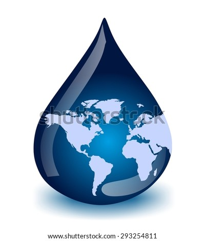 water drop with world map  - stock photo