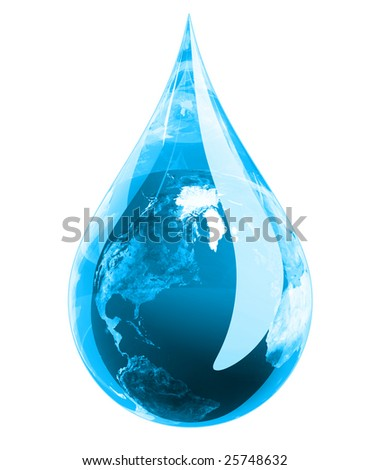 Water droplet in blue hue with the earth engulfed in it. - stock photo