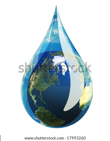 Water droplet with the planet earth inside isolated on white. - stock photo