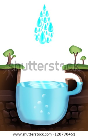 Water droplets falling on a cup-shaped lake. Clean water and environmental illustration concept. - stock photo