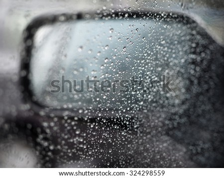 Water droplets on a glass blur background with bokeh effect.