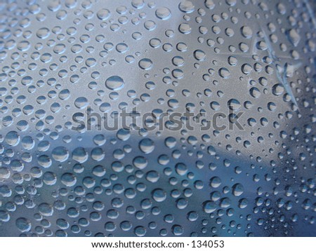water droplets on blue plastic