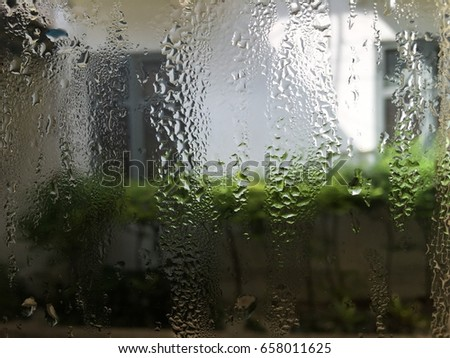 Water droplets on glass Looking through the trees With space for text