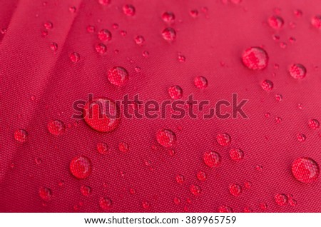 Water droplets on is fiber Waterproof fabric colorful - stock photo