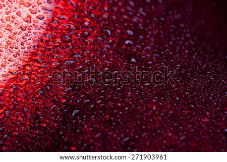Water droplets on metal - a beautiful unusual texture - stock photo