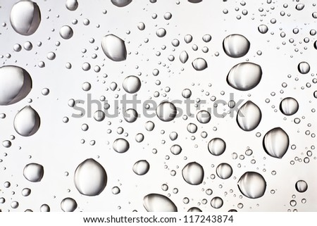 Water droplets on the glass for the background