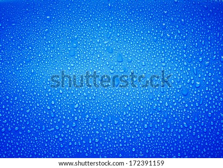 Water droplets on the glass with a colored background. Drops of water. - stock photo