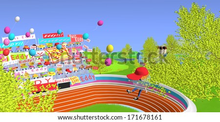 water droplets race from the sky, one flying water droplet with a red cap, a huge stadium visible beneath, 3D illustration over a blue background