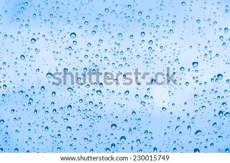 water drops and blue background