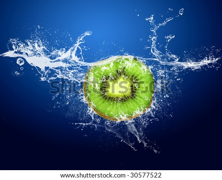 Water drops around kiwi on blue background - stock photo