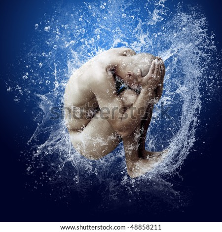 Water drops around men under water on blue background - stock photo