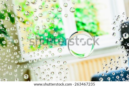 Water drops background, covered with water drops- condensation, close-up