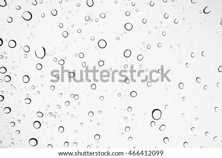 Water drops background. Water drops on glass window over blue sky