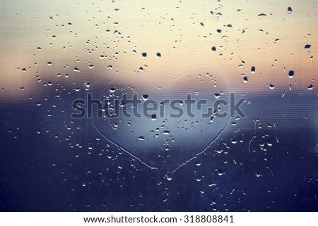 water drops background with heart  - stock photo