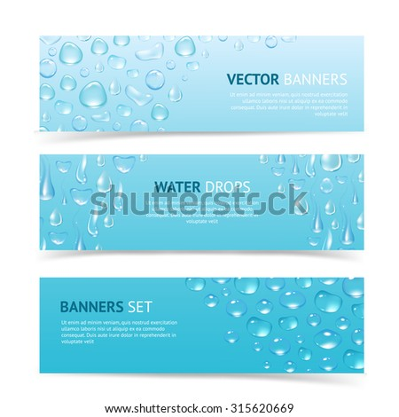 Water drops cool aqua shiny dew banners set isolated  illustration - stock photo