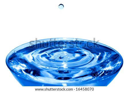 Water drops falling to the center of a cup filled with rippled water. Isolated on white.