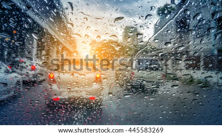 Water Drops Of Rain On Glass Background abstract background concept - stock photo