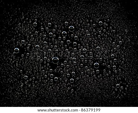 Water drops on black background - stock photo
