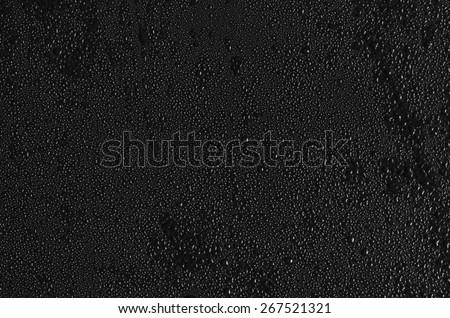water drops on black background. Macro. - stock photo